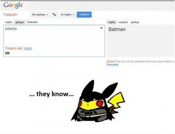 funny pics, funny google translate, pikachu, batman