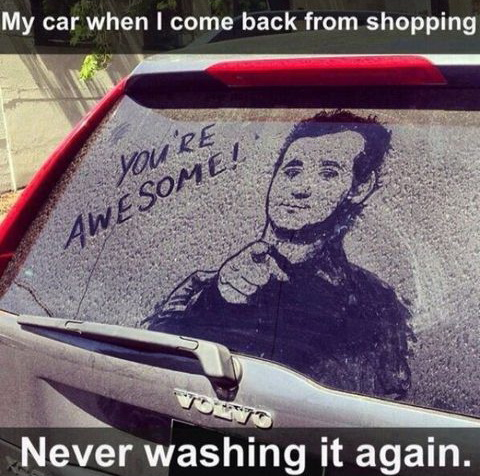 funny pics, dirty car drawing