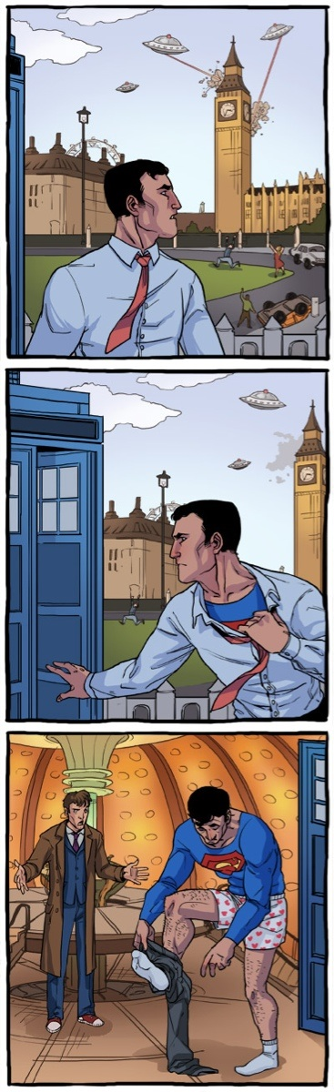 funny pics, Superman, Doctor Who, tardis,
