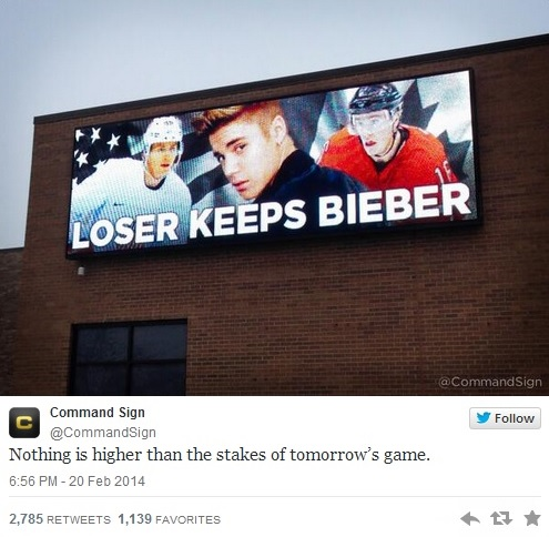funny pics, funny billboards, hockey, Olympics, Bieber