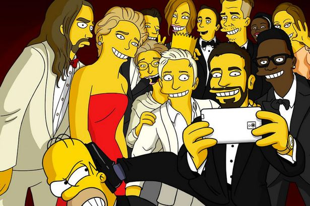 The Simpsons recreate Ellen's Oscar selfie