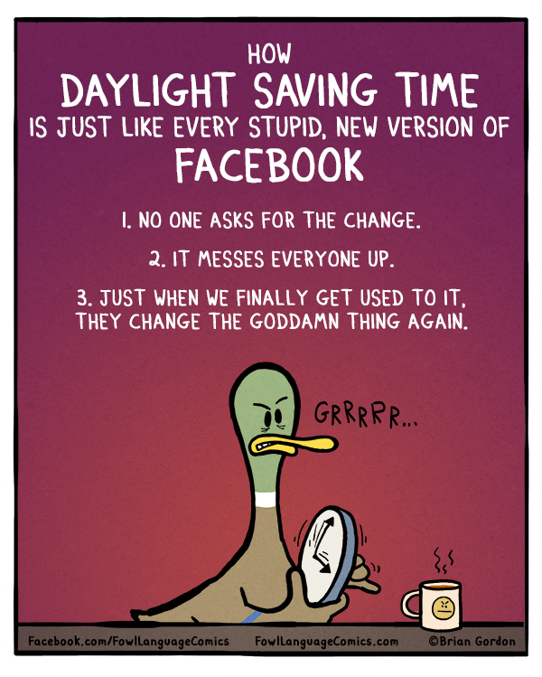 funny comics, Daylight saving time, FB humor