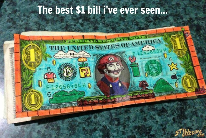 funny pics, mario, dollar bill art
