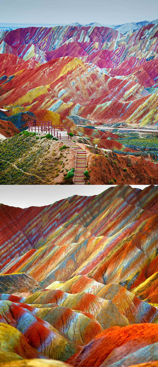 beautiful nature, Rainbow Mountains, China