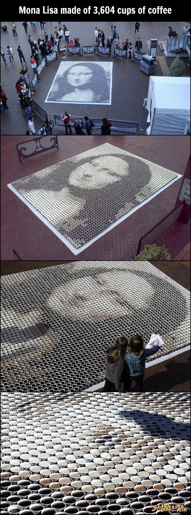 art, coffee, Mona Lisa made of coffee cups