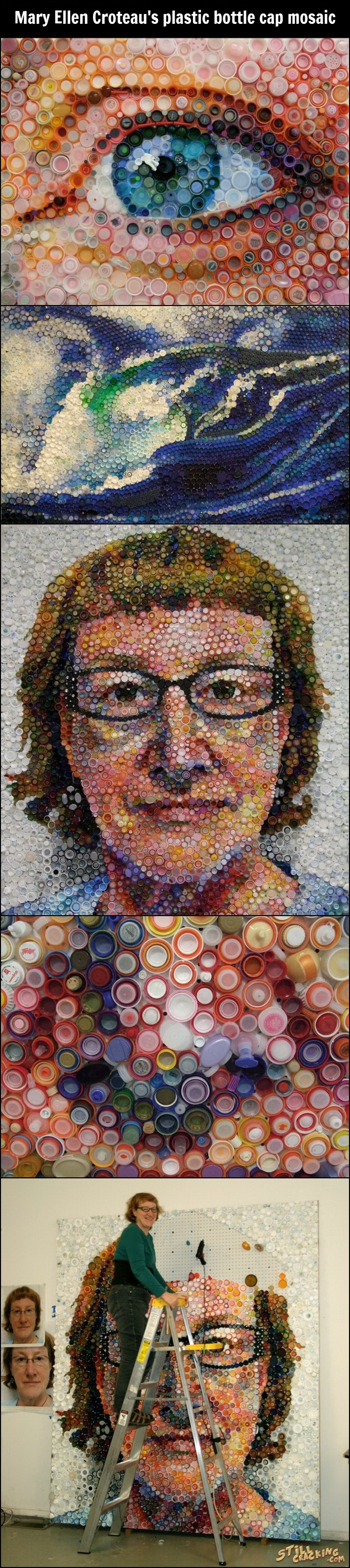art, plastic bottle caps mosaic