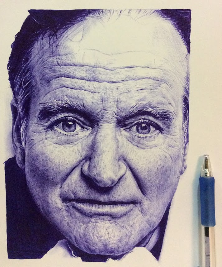 art, pen drawings, Robin Williams drawing