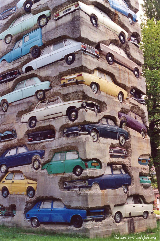 art, automobiles in concrete, sculpture
