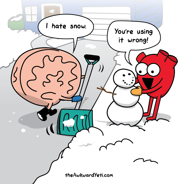 lol pics, heart vs brain humor, the awkward yeti,