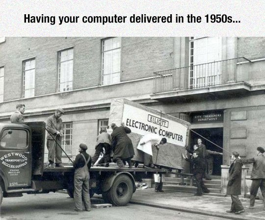 funny pics, computer delivery in 50s