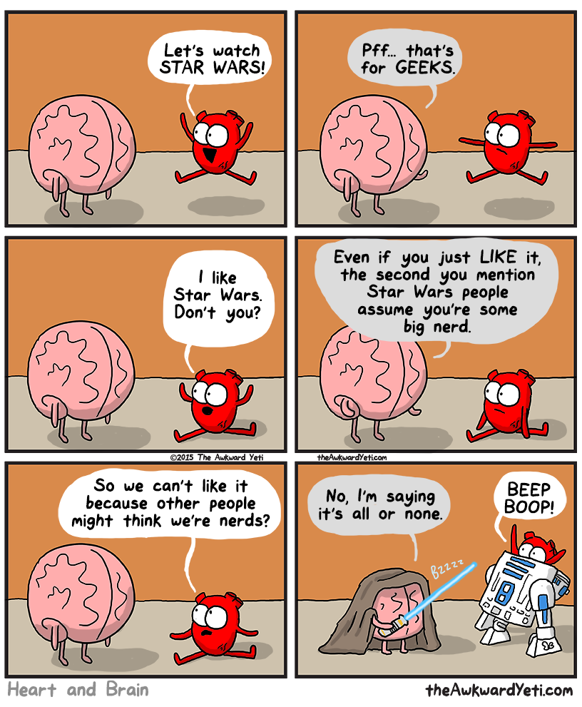 funny comics, lol pics, star wars humor, heart vs brain humor,