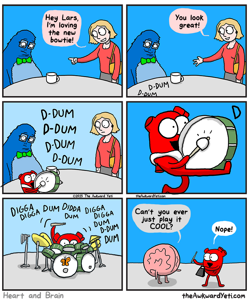 funny comics, the awkward yeti, lol pics, heart vs brain humor,