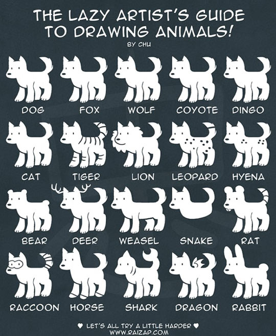 lazy artist's guide, drawing animals, lol pics