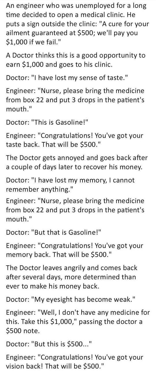 funny, lol, engineer humor, doctor vs engineer