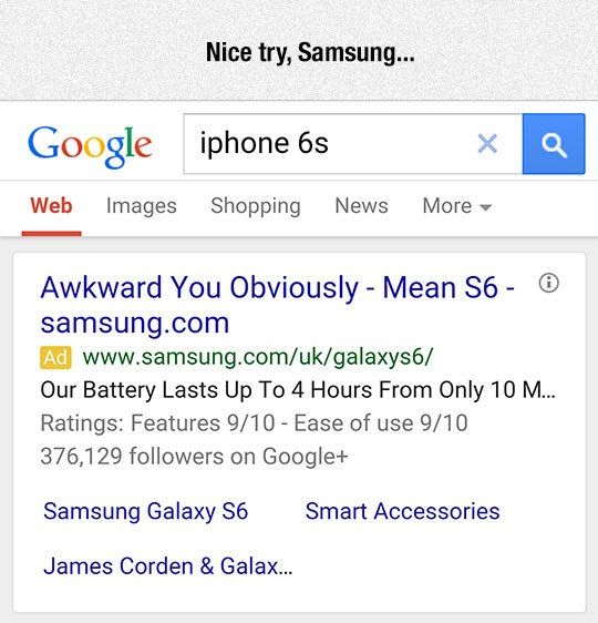 funny google search, apple vs samsung