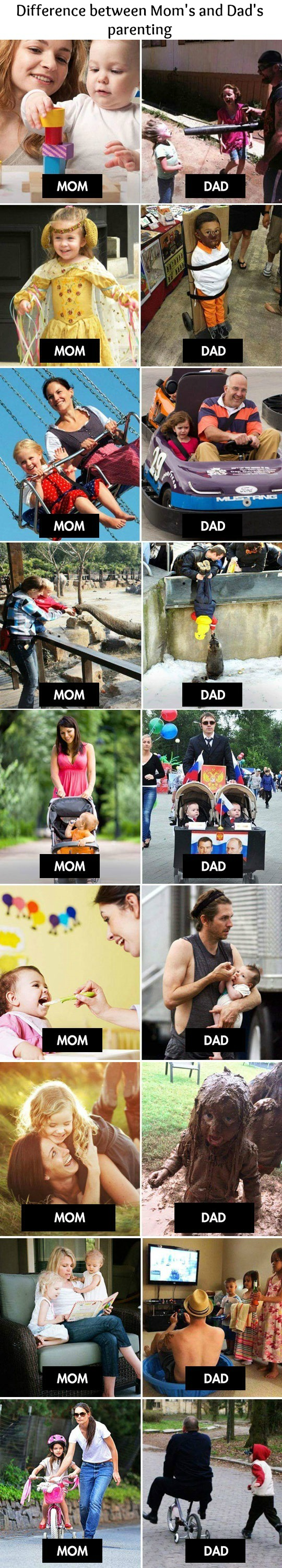 moms vs dads, funny pics, parenting humor, lol