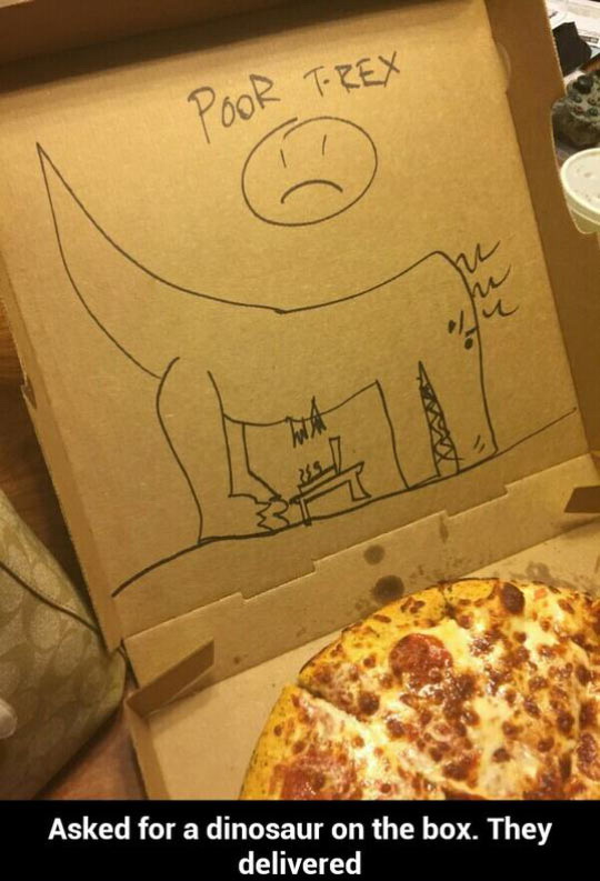 t-rex humor, funny pics, pizza humor, pizza artists
