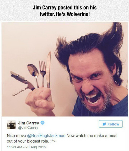 jim carrey, lol pics, wolverine, awesome