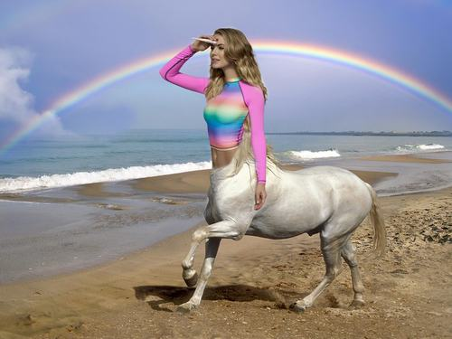 The Internet Had Fun Photoshopping This Picture of a Girl in a Rainbow Swimsuit (18 Pics)