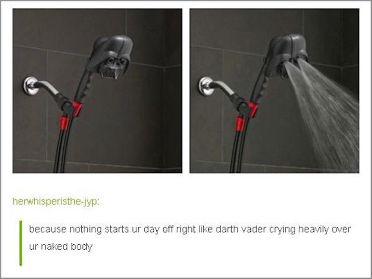 funny pics, lol pics, sad darth vader, darth vader shower