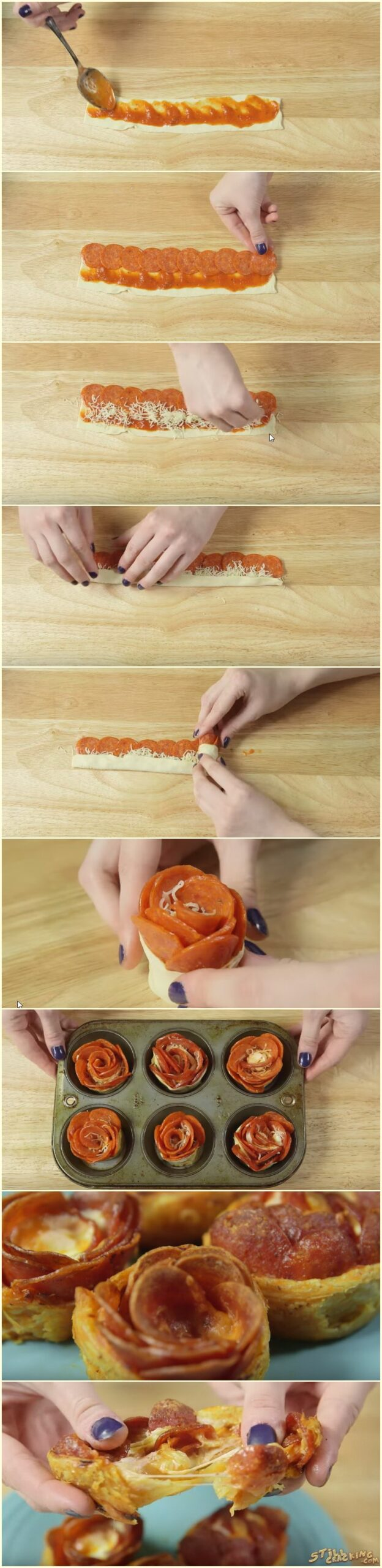 Pepperoni And Cheese Pizza Roses, pizza roses, food, recipes