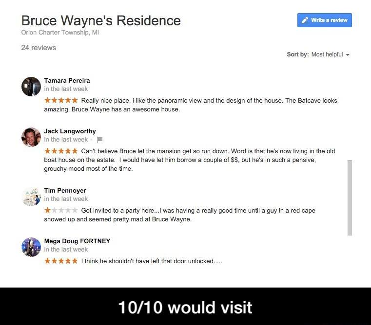 Reviews Of Bruce Wayne's Residence