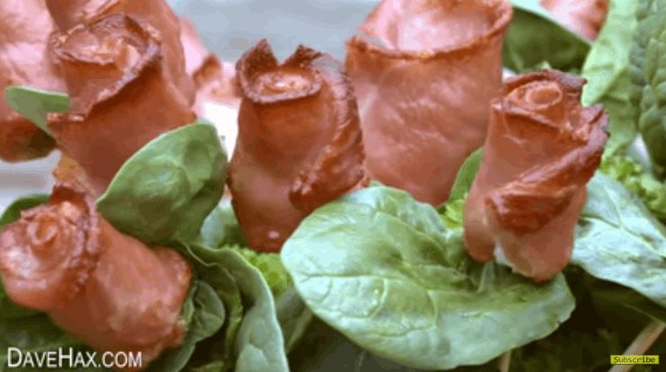 Edible Roses Out of Bacon