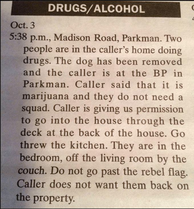 Bizarre Police Blotter Notifications
