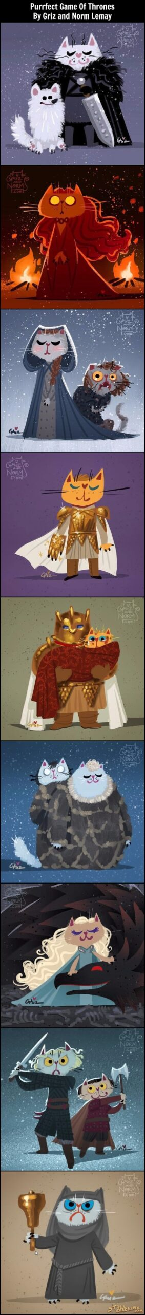 Purrfect Game Of Thrones By Griz and Norm Lemay, got, game of thrones art