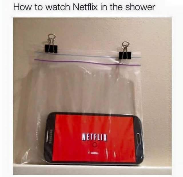 funny pics, lol, netflix in bath, life hack, funny tips,