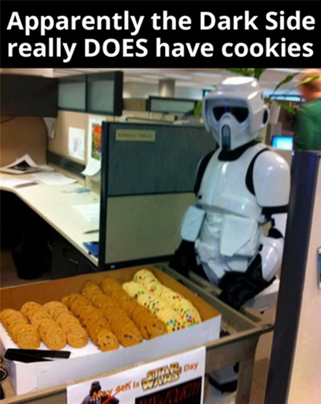 funny pics, lol pics, star wars jokes, stormtrooper humor, dark side, cookies