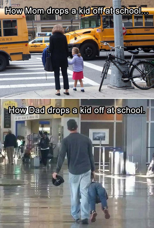 funny pics, lol pics, moms vs dads, dropping a kid off at school