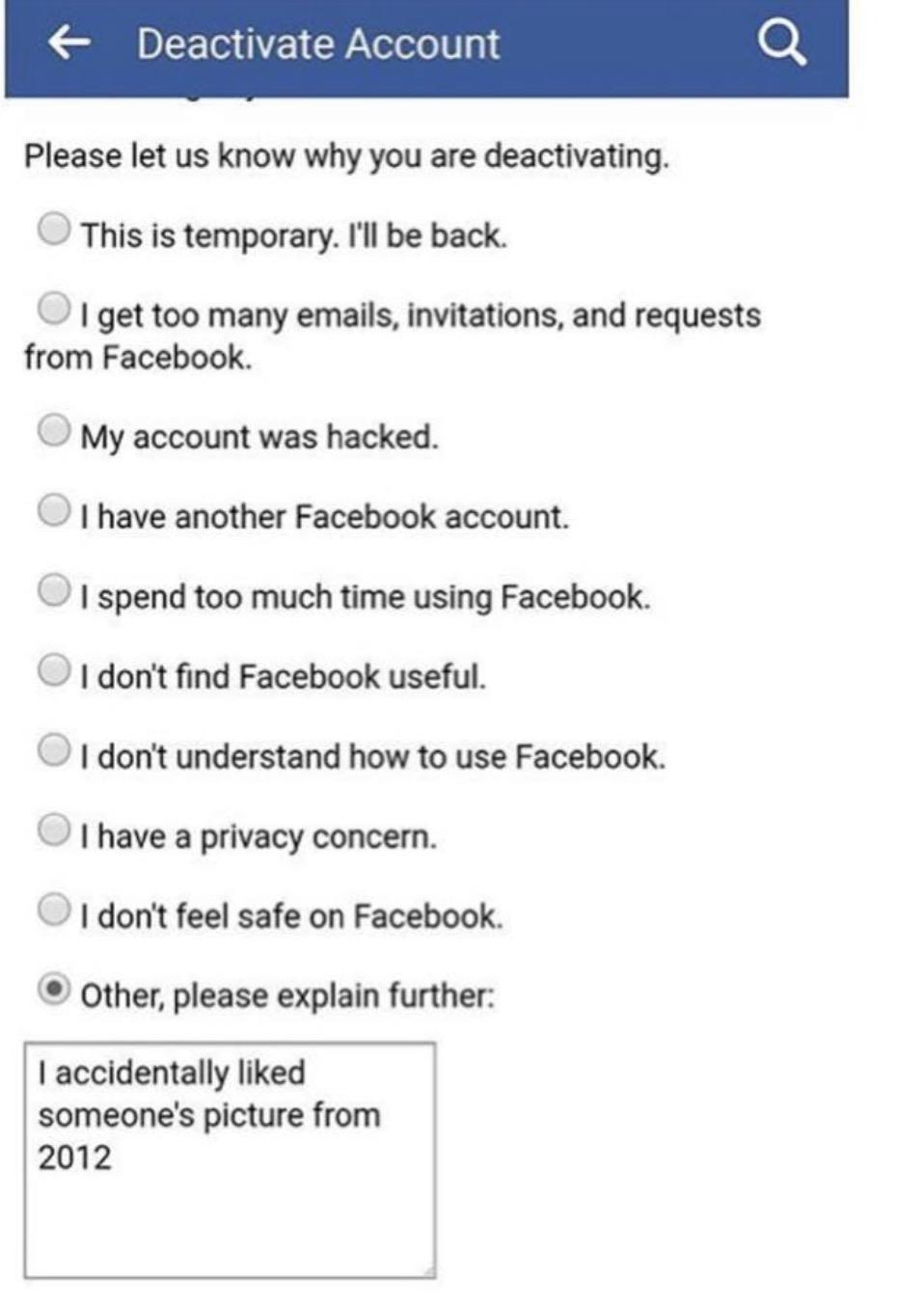 funny pics, lol pics, valid reason, facebook deactivate, facebook jokes