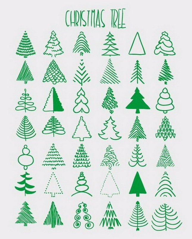 funny drawings, christmas trees, drawing, nice, art
