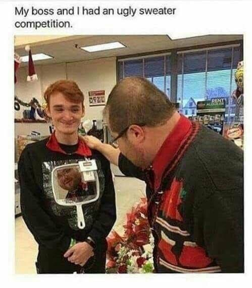 funny pics, lol pics, ugly sweater, boss humor, lol