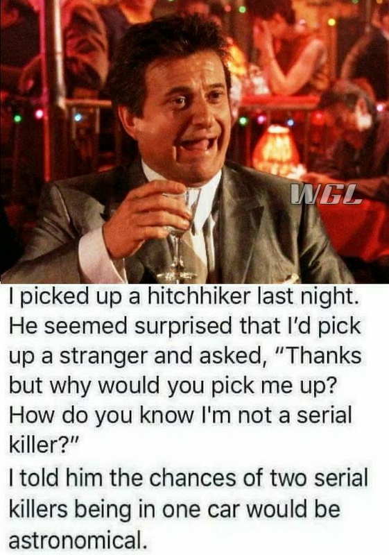 funny, lol, hitchhiker jokes, serial killer humor