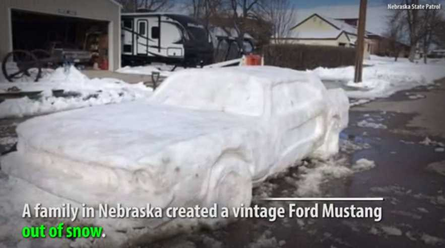Nebraska family creates Ford Mustang out of snow