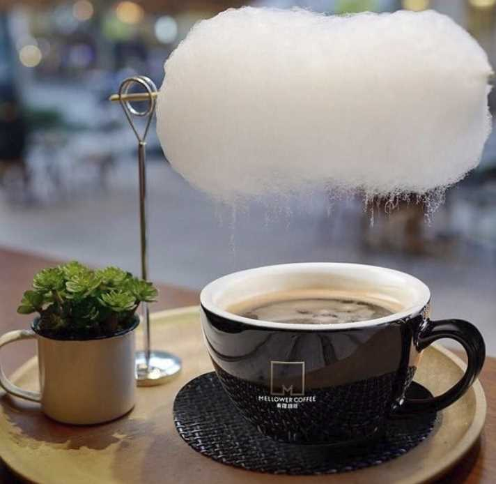 Cotton Candy Cloud Hot Cup of coffee