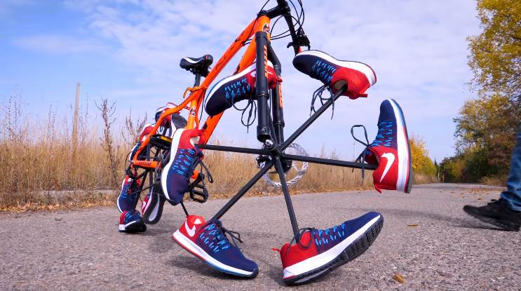 Bicycle Wheels With Training Shoes