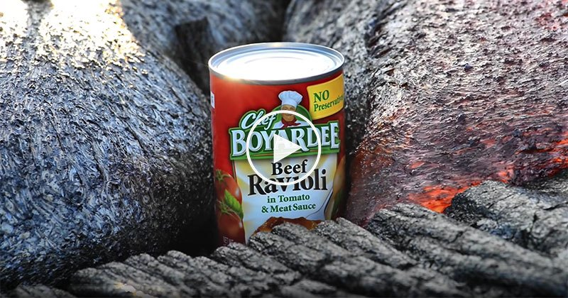 Can of Ravioli Being Engulfed by Lava